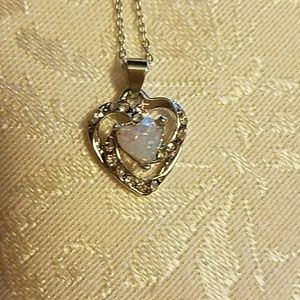 Jewelry - Heart shaped 925 Sterling Silver opal necklace